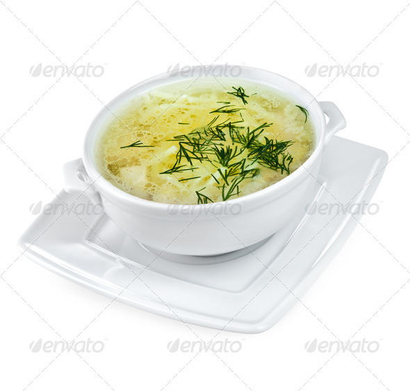 Chicken Noodle Soup isolated - Stock Photo - Images