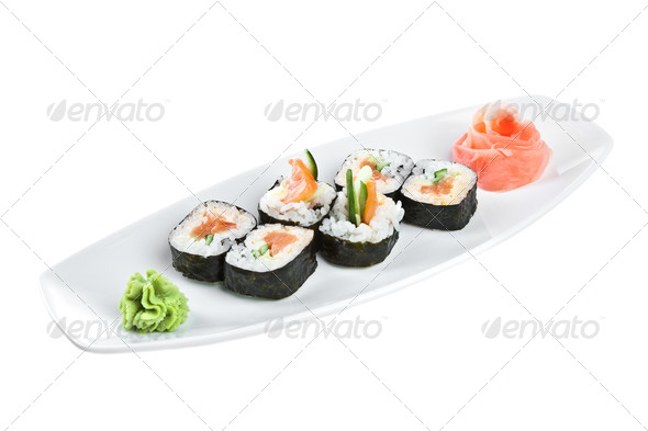 Sushi (Yasai Roll) on a white background - Stock Photo - Images