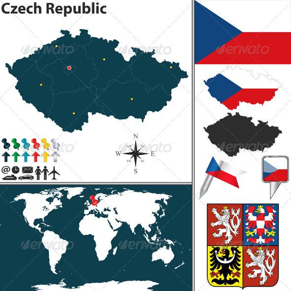 Map of Czech Republic - Travel Conceptual