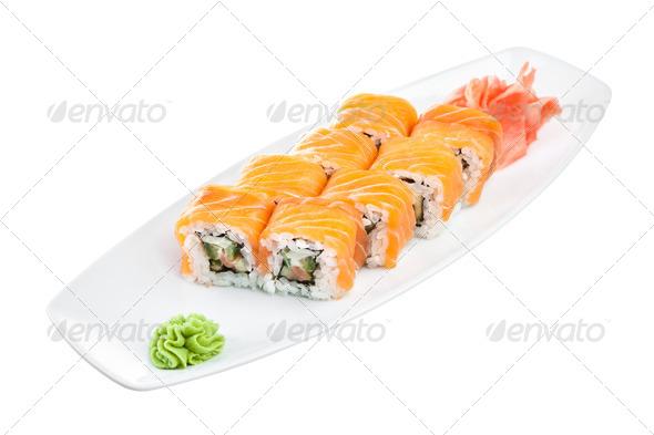 Sushi (Roll unagi maki syake) on a white background - Stock Photo - Images