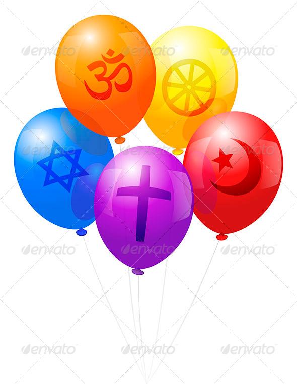 Balloons World Religions - Religion Conceptual