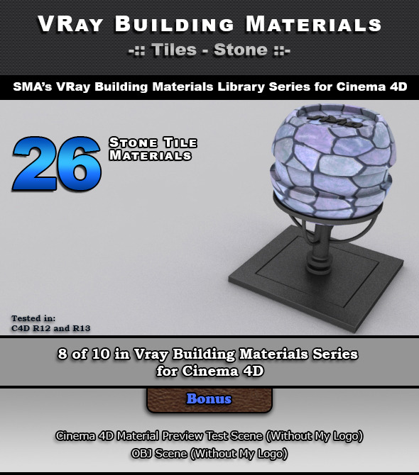 26 VRay Stone Tile Materials for Cinema 4D - 3DOcean Item for Sale