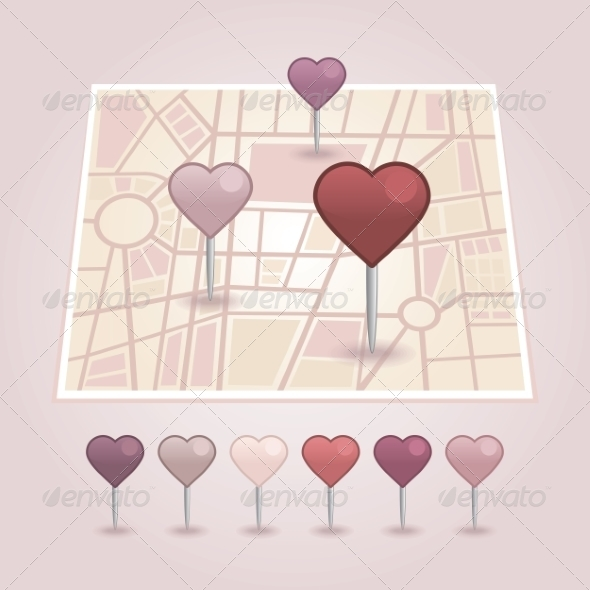 Map Pointer with Heart Icon - Web Icons