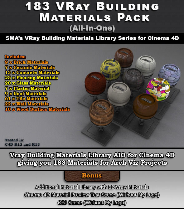 183 VRay Building Materials Pack for Cinema 4D - 3DOcean Item for Sale