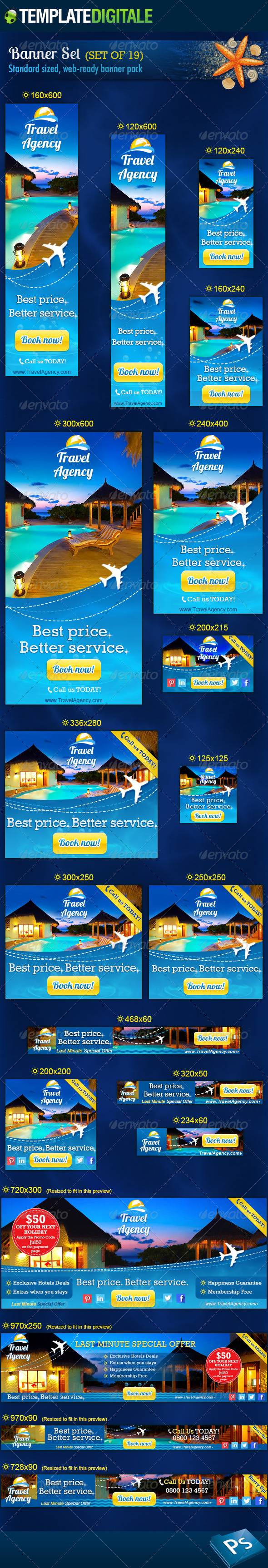Travel Agency Banner Set - Banners & Ads Web Elements