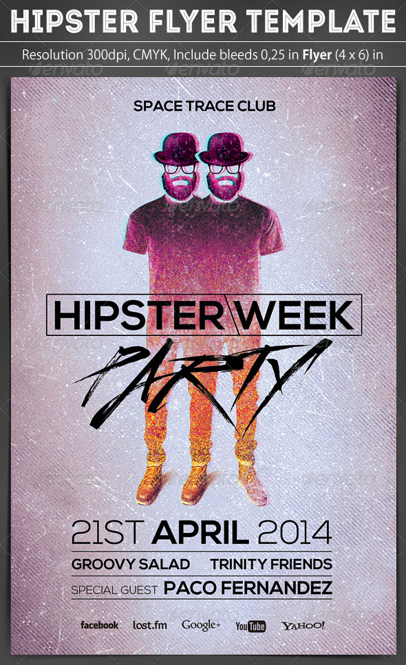 Hipster Flyer Template - Clubs & Parties Events