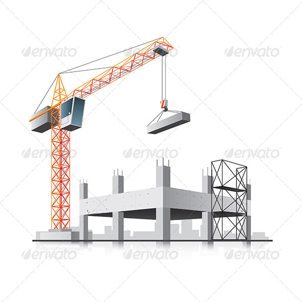 Building Construction with Crane - Buildings Objects