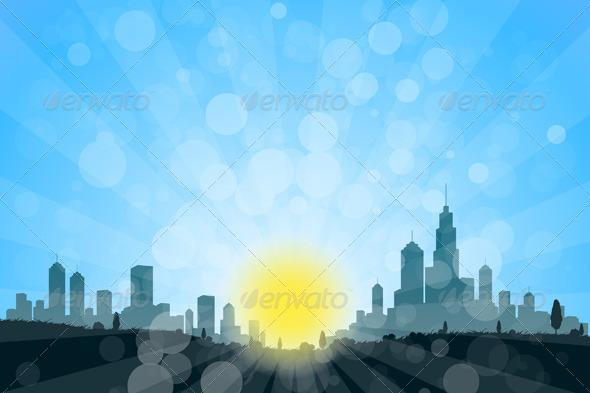 Nature Landscape with City Silhouette - Landscapes Nature