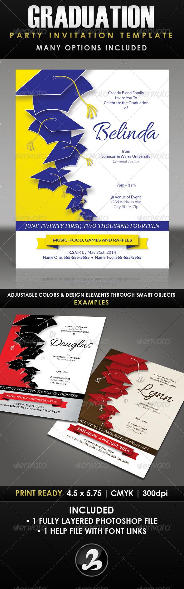 Graduation Party Invitation Template - 1 - Invitations Cards & Invites