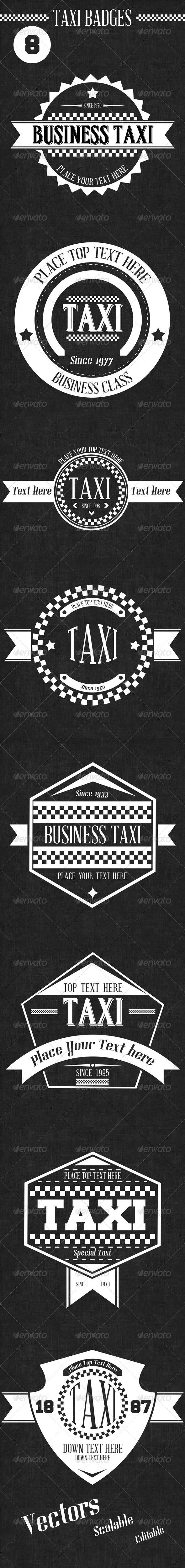 8 Retro Taxi Badges - Badges & Stickers Web Elements