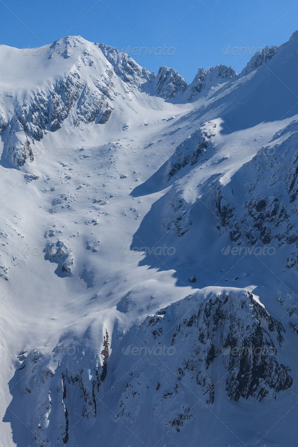 The Fagaras Mountains in winter - Stock Photo - Images