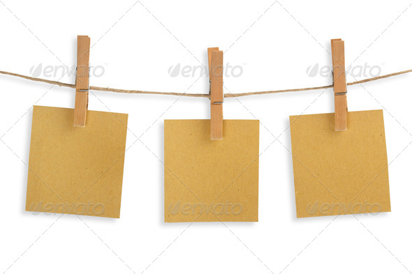 three cards of recycled paper hanging on a clothesline - Stock Photo - Images