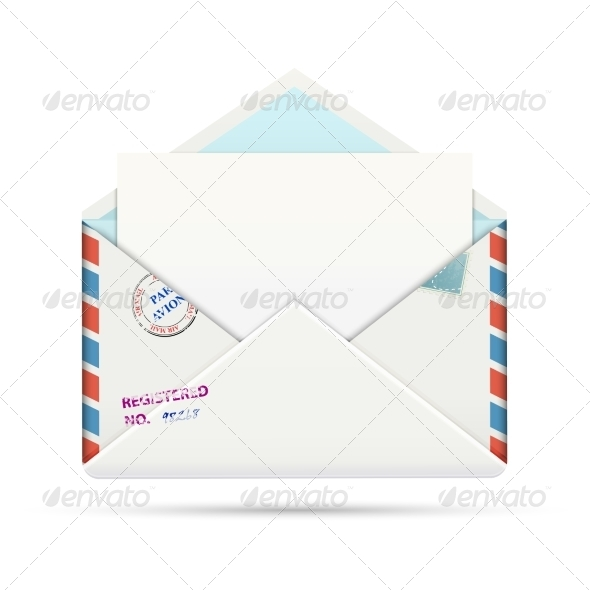 Open Old-fashioned Airmail Paper Envelope - Computers Technology