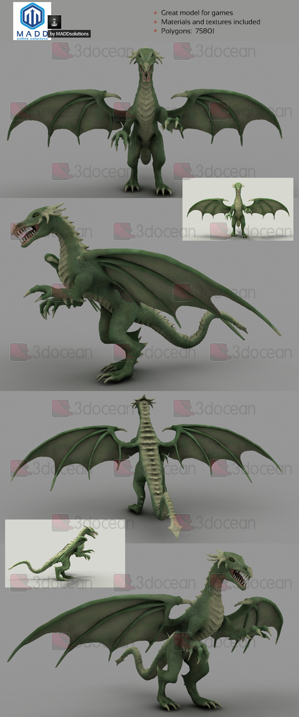 High Poly Green Dragon - 75801 polygons - 3DOcean Item for Sale