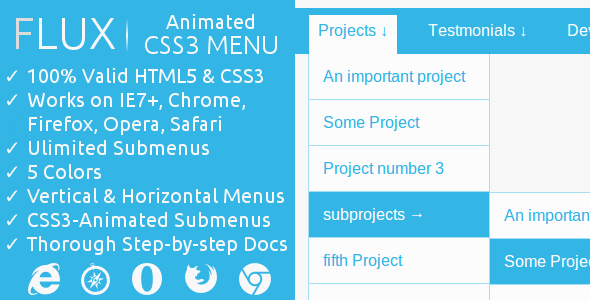 FLUX | CSS3-Animated Menu - CodeCanyon Item for Sale