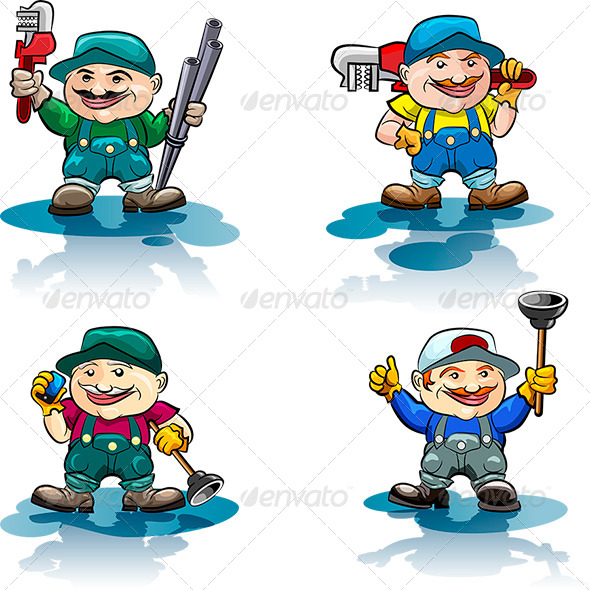 The Plumber Icon Set - Characters Vectors