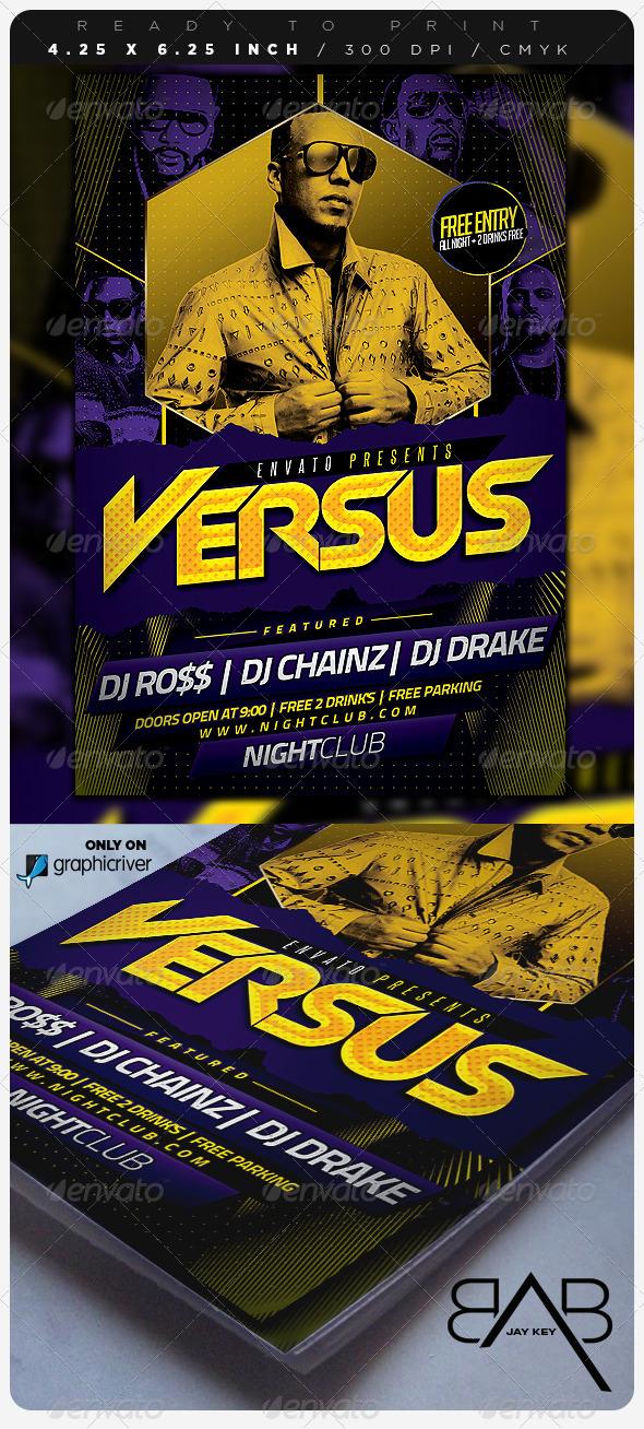 Versus Hip Hop Party Flyer - Clubs & Parties Events