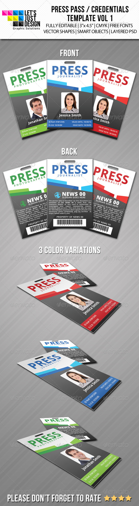 Press Pass / Credentials Template Vol 1 - Miscellaneous Print Templates