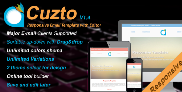 Cuzto-Responsive Email Template with Editor v1.4 - Email Templates Marketing
