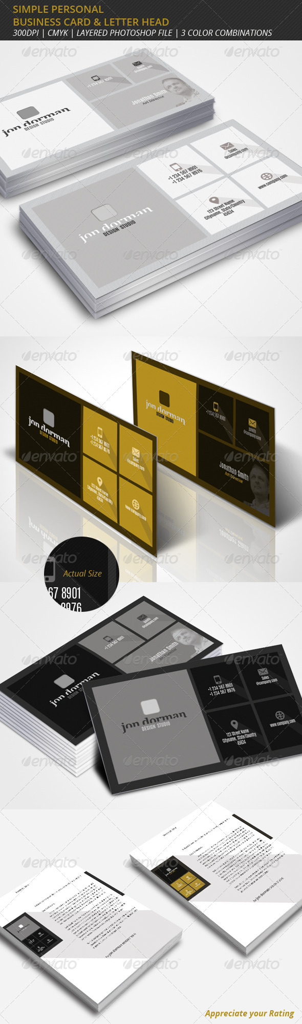 Simple Professional Business Card & Letterhead - Business Cards Print Templates