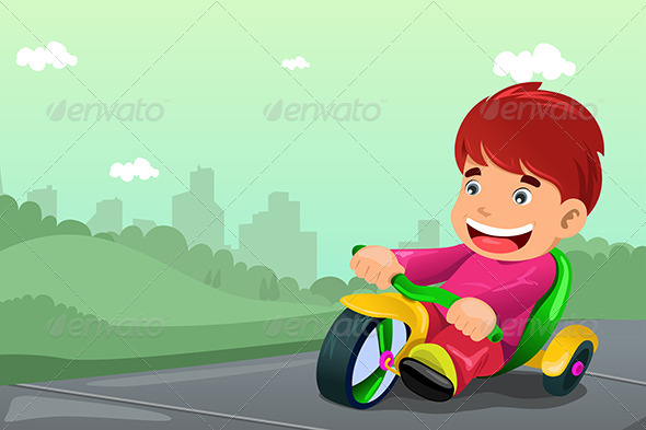 Boy Riding Tricycle - People Characters