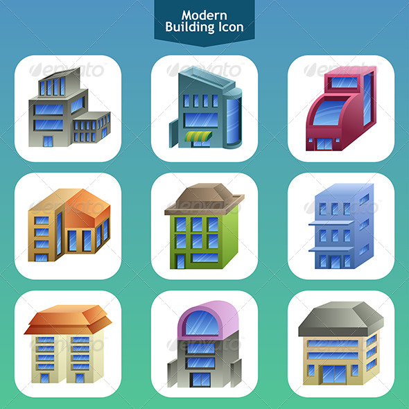 Modern Building Icons - Buildings Objects