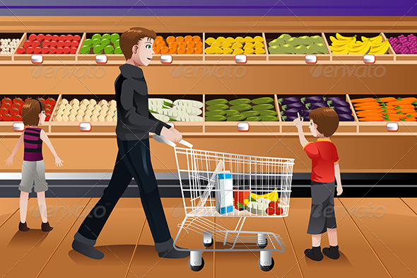 Father and His Kids Grocery Shopping - Commercial / Shopping Conceptual