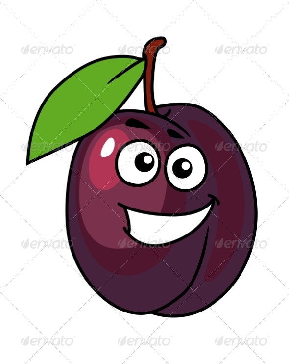Cartoon Plum with a Happy Smile - Food Objects