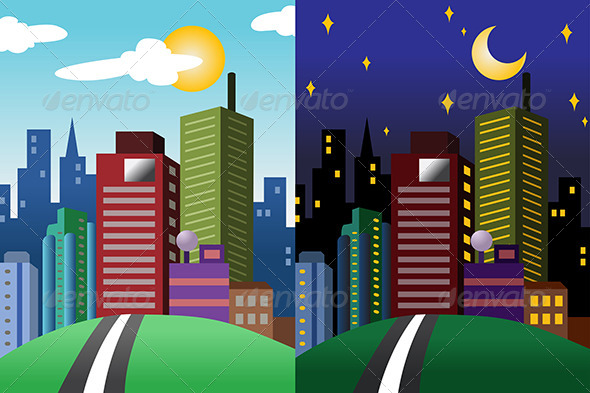 Day and Night View of a Modern City - Landscapes Nature