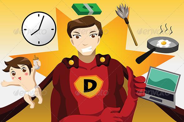 Superhero Dad Concept - Conceptual Vectors