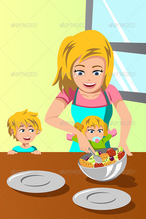 Mother and Her Kids Preparing Salad - People Characters