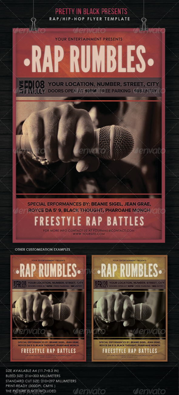 Hip Hop/Rap Concert - Flyers Print Templates