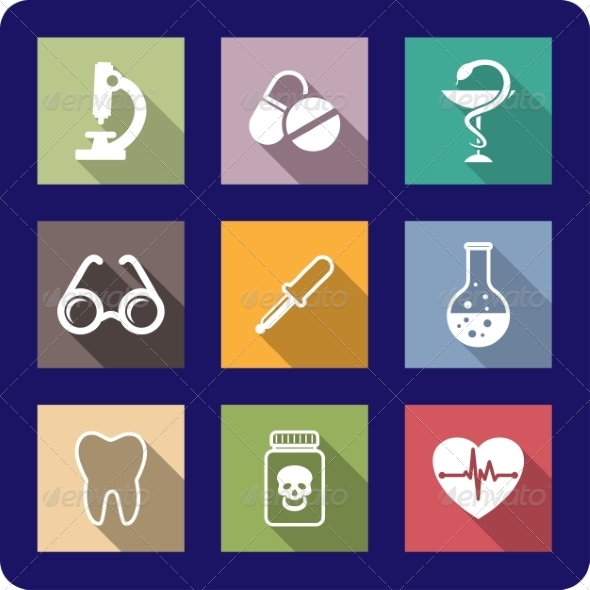 Flat Medical and Healthcare Icons - Web Elements Vectors