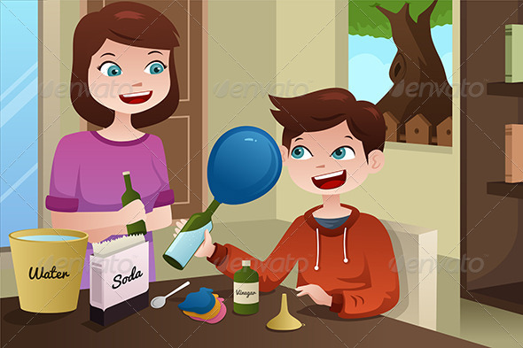 Mother Helping Son Build a Science Project - People Characters