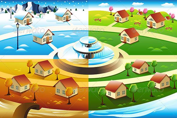 Village in Four Season - Seasons Nature