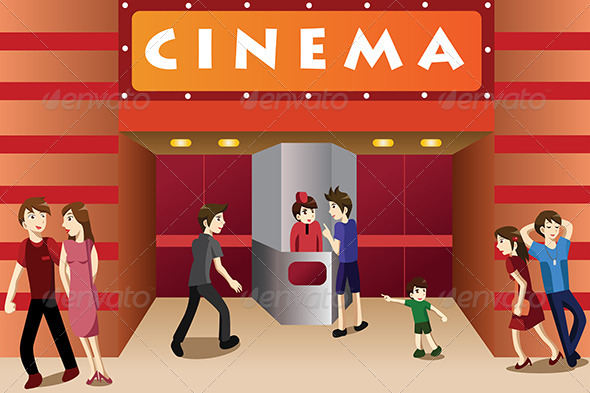 People Hanging Out Outside a Movie Theater - People Characters