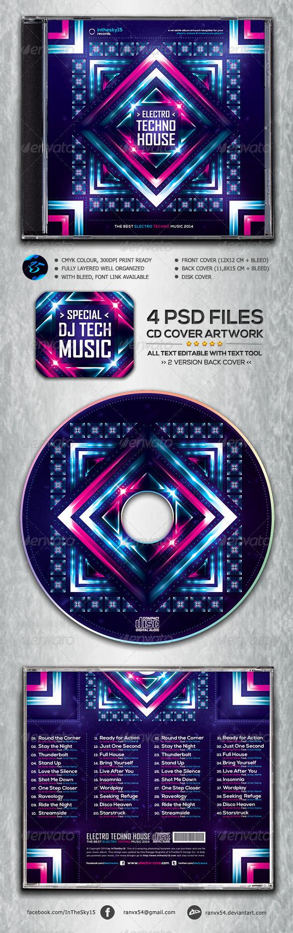 Electro Techno House CD Album Artwork - CD & DVD Artwork Print Templates