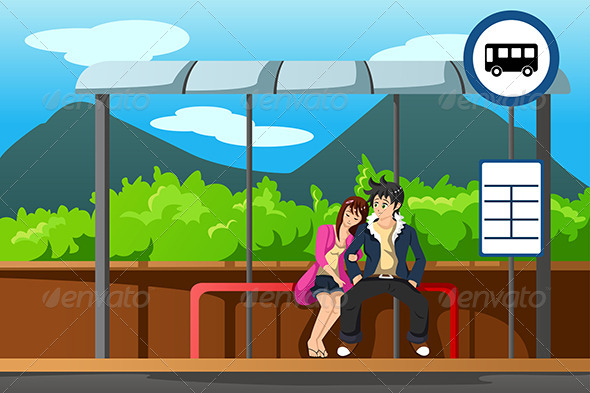 Man and Woman at Bus Stop - People Characters