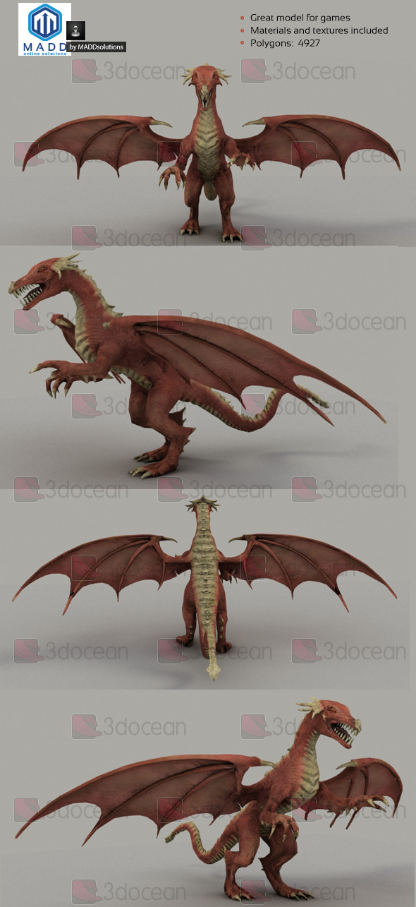 Low Poly Red Dragon - 4927 polygons - 3DOcean Item for Sale