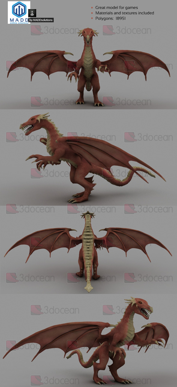 Mid Poly Red Dragon - 18951 polygons - 3DOcean Item for Sale