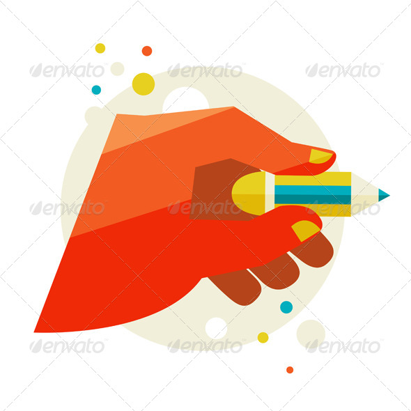 Man's Hand Holding A Pencil.  - People Characters
