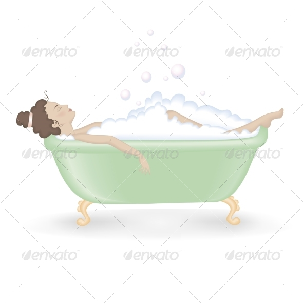 Woman Taking a Bath with Foam - Patterns Decorative