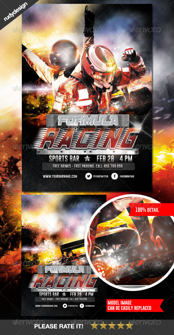 Racing Race Car Grand Prix Flyer Design - Sports Events