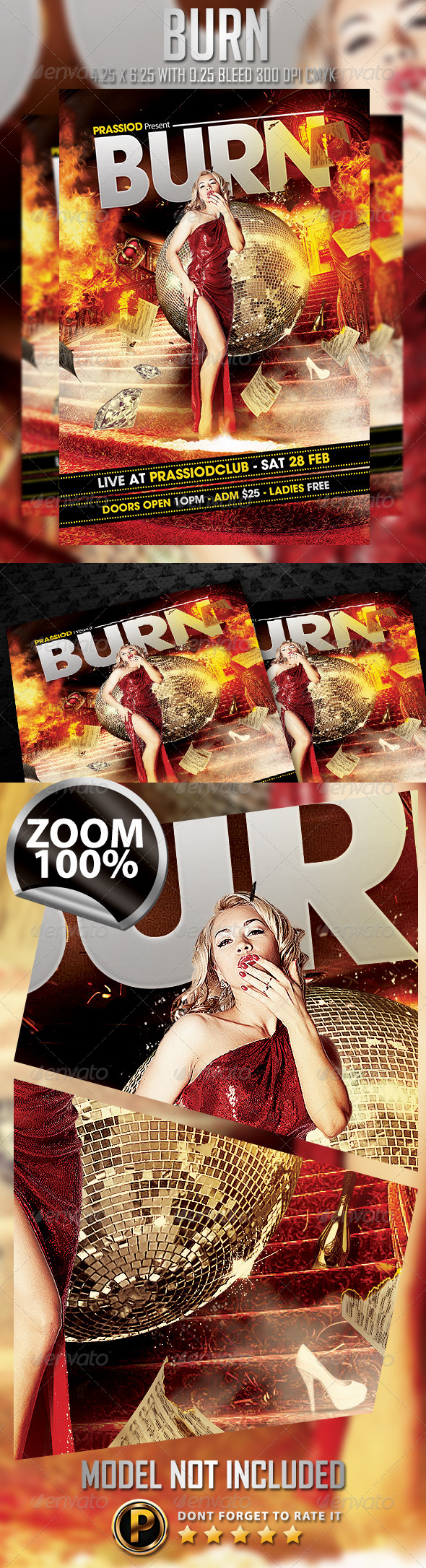 Burn Flyer Template - Clubs & Parties Events