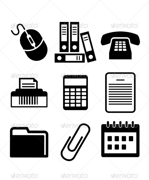 Set of Black and White Office Icons - Concepts Business