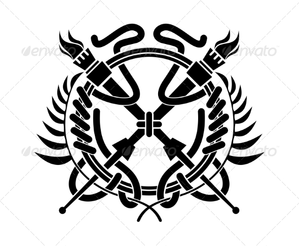 Crossed Flaming Torches over a Laurel Wreath - Borders Decorative