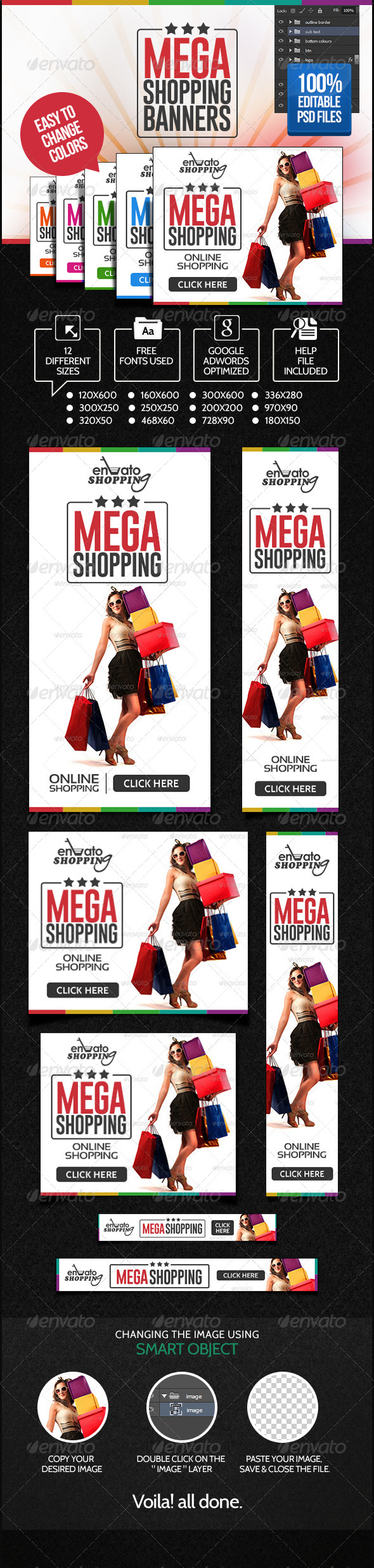 Online Shopping Banner Set - Banners & Ads Web Elements