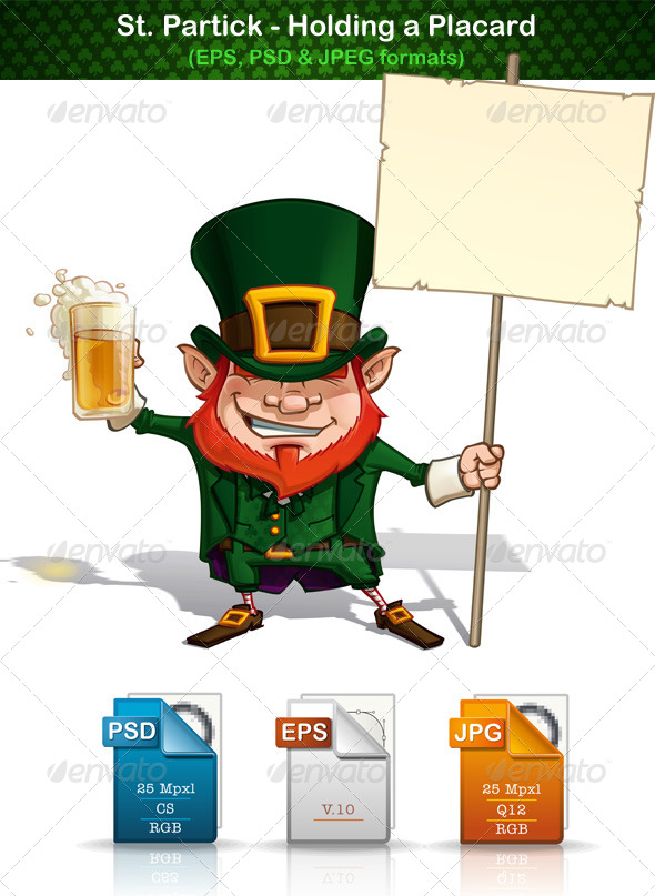 St. Patrick Holding a Placard - People Characters