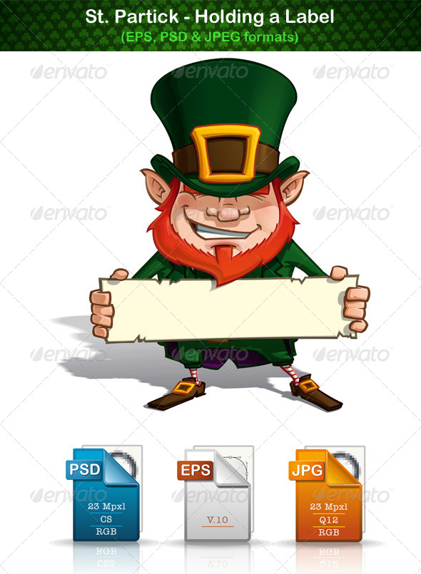 St. Patrick Holding a Label - People Characters