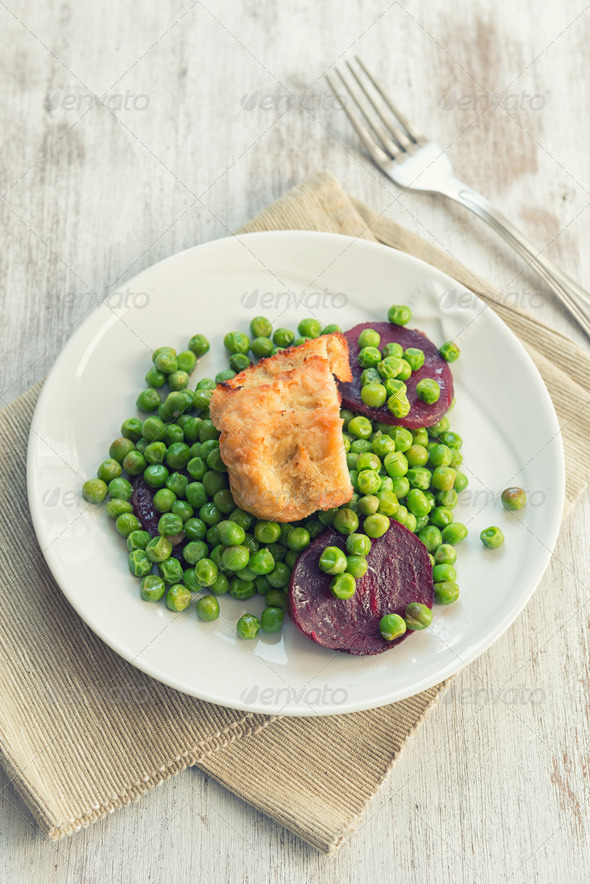 Seitan with peas and beetroots - Stock Photo - Images
